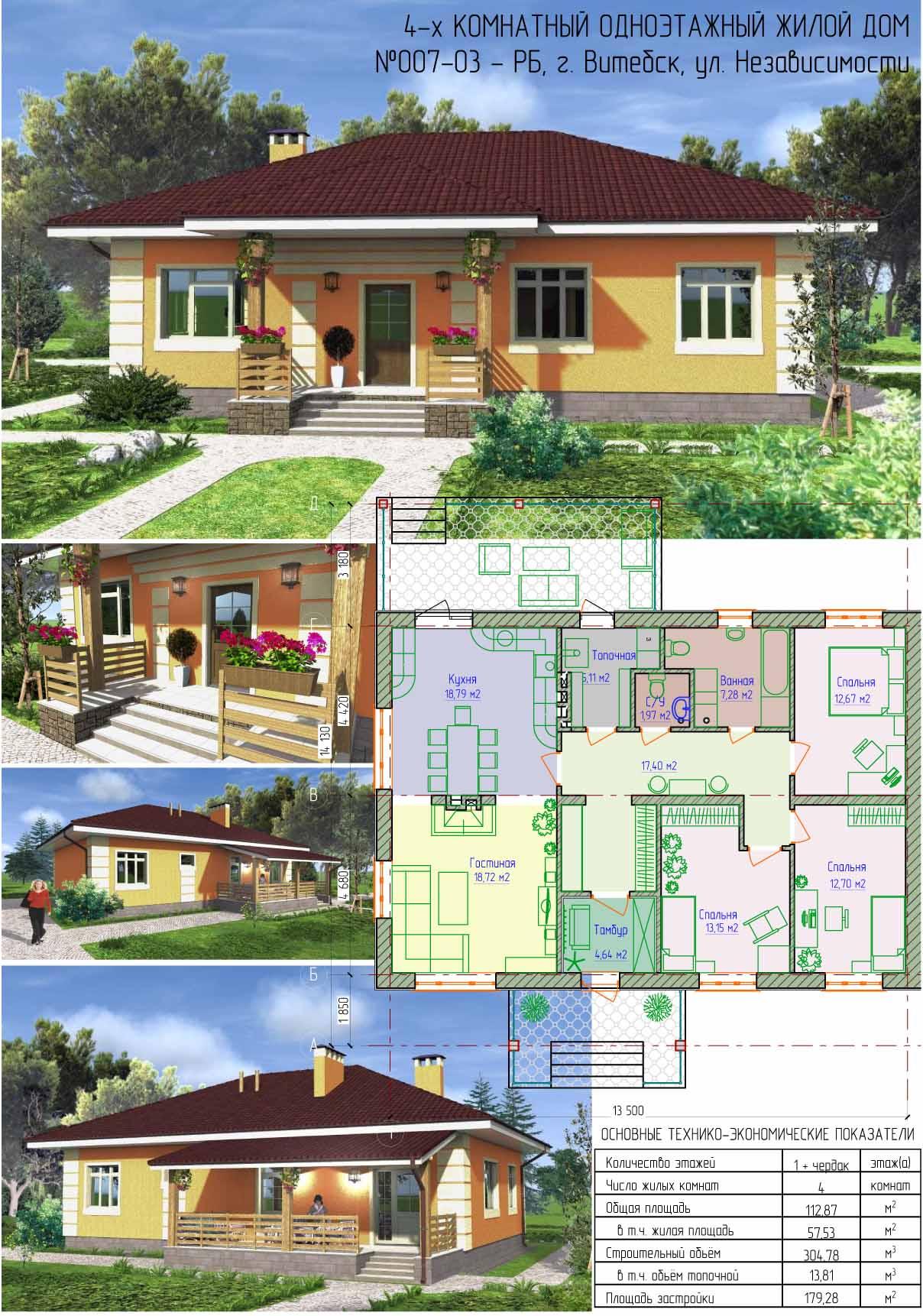проекты одноэтажных домов 4 х комнатных